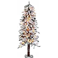 Sterling/Palm Tree 5814-50C Flocked Alpine Pre-Lit Artificial Tree
