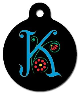 Monogram Letter K Pet ID Tag for Dogs and Cats