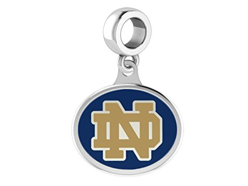 Notre Dame Fighting Irish Sterling Silver Enamel Drop Charm Fits All European Style Charm Bracelets