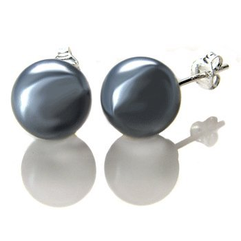 Sterling Silver 8mm Grey Mother Pearl Stud Earrings Comes with a Gift Box and Special Pouch.
