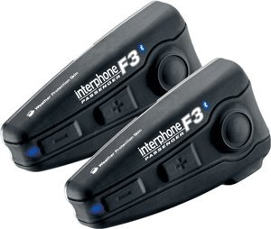 Interphone Duo F3 Universal Motorbike Bluetooth Intercom System for Flip and Full-Face Helmets (Pack of 2)