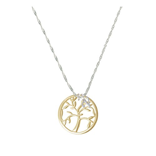 Gold Tone Tree Of Life In Circle Mini Gelato Initial - V - Grace Necklace