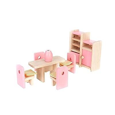 Winomo Hölzerne Dollhouse Esszimmermöbel Set Tisch + Stuhl + Display Unit + Vase günstig bestellen