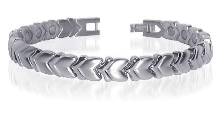 Stainless Steel Magnetic Heart Health Bracelet 7.5 Inch