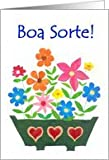 Good Luck Card, Portuguese Greeting - Flower Power Card