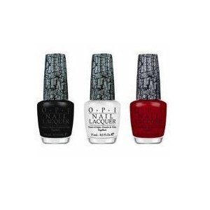 OPI Nail Polish Black White and Red Shatter