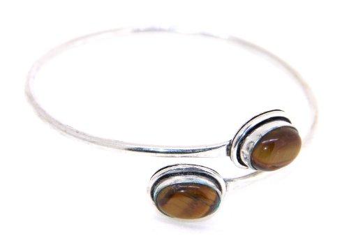 Lazreena Fashionable Dark Brown Color Natural Stone Ethnic Cuff Bracelet For Women (beige\/sand\/tan)