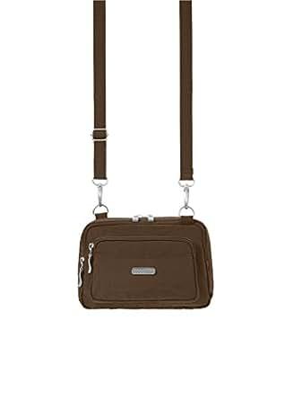 Baggallini Triple Zip Crossbody Travel Bag, Mocha, One Size