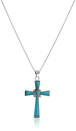 """Sterling Silver Simulated Turquoise Inlay Cross Pendant Necklace, 18"""""""