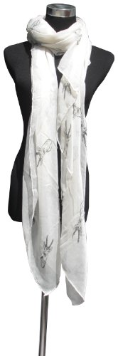 Large Cream with Grey Deer Head Print, Chiffon Scarf or Sarong