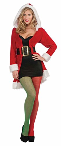 Green Red Fishnet Stockings Tights Elf Christmas Costume Accessory Women Hosiery (Fireman With Hose Adult Costume)