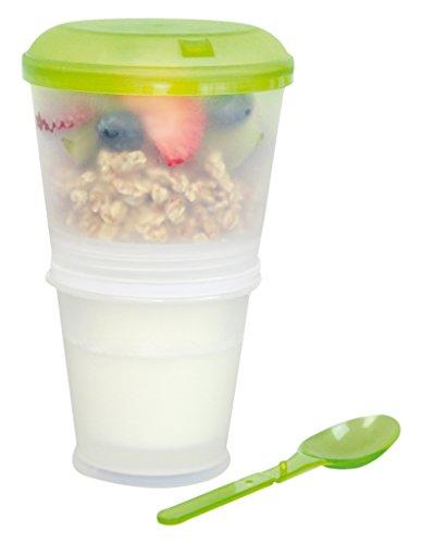 PS - Tazza per cereali da passeggio con vano refrigerato per latte e cucchiaio