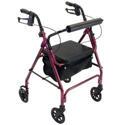 Invacare Value Four Wheel Rolling Walker Rollator Burg/Red