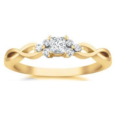 0.58 Carat Cheap Engagement Ring with Princess cut Diamond on 14K Yellow gold