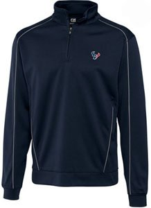 Houston Texans Jacket Mens Drytec Edge Half Zip Pullover Navy Blue by Cutter & Buck