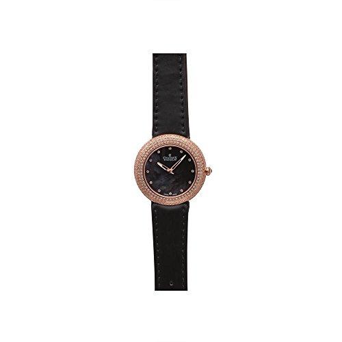 Charmex Las Vegas 6297 35mm Stainless Steel Case Black Calfskin Synthetic Sapphire Women's Watch