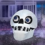 4.5' Tall Airblown Inflatable Halloween Skull with Spinning Eyes