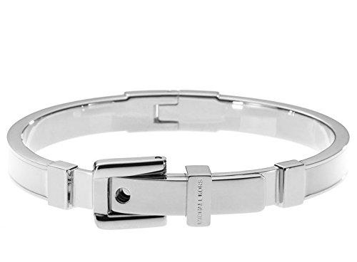 """Michael Kors Mkj2541 Stainless Steel 1/4"""" Buckle Bangle Bracelet W White Enamel"""