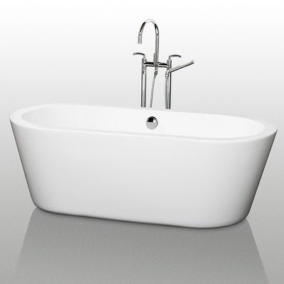 Wyndham Collection Mermaid 71-in. Freestanding Tub Color - White