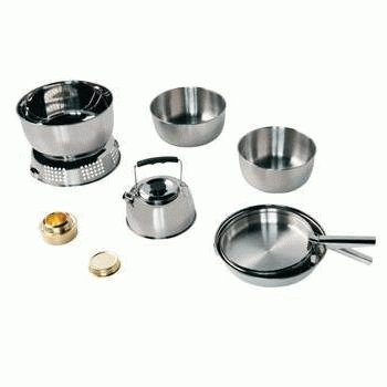 Outwell Stainless Steel 10 Piece cookset.