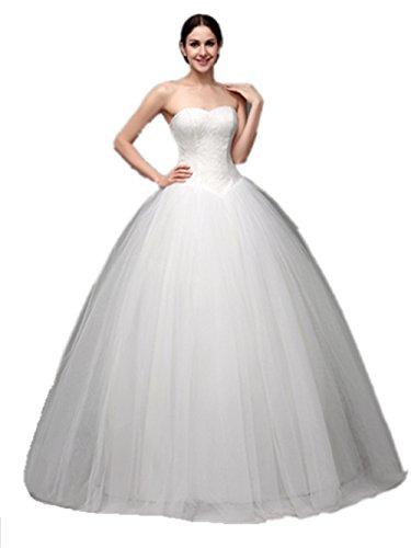 Vickyben White Wedding Dress Strapless Ball Gown Ivory 6