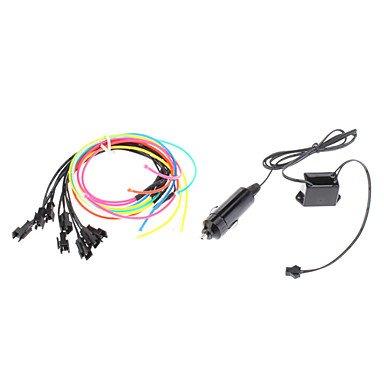 1 mètre Flexible voiture décoratifs Neon Light 2.3mm EL Wire Rope avec inverseur de voiture de lumière , Red