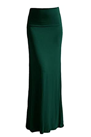 High Quality Solid Flared Maxi Long Skirt (Small, Hunter Green)