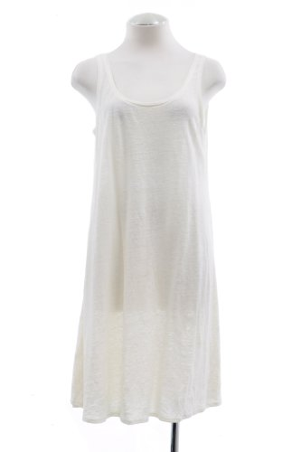 Eileen Fisher White Sleeveless Linen Jersey Tunic Dress