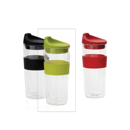 Torre And Tagus To-Go Silicone Grip Glass D/W Cup 420Ml - Green