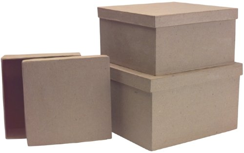 DCC Paper Mache Square Box, 8-1/2-Inch by 7-1/2-Inch by 6-Inch, Set of 3