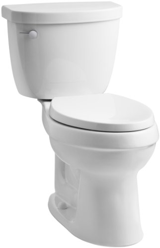 KOHLER K-3609-0 Cimarron Comfort Height Elongated 1.28 gpf Toilet with AquaPiston Technology, Less Seat, White image