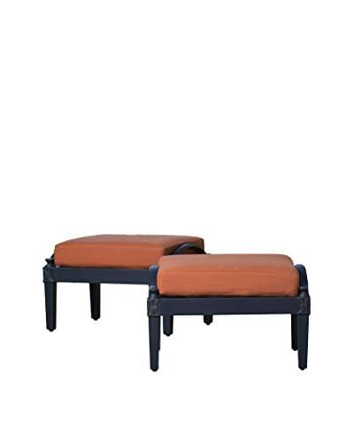 RST Brands Astoria Set of 2 Modular Club Ottomans, Orange
