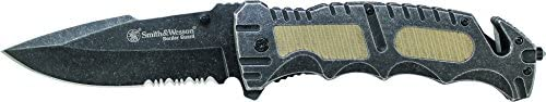 Smith amp Wesson SWBG7S Border Guard with 40-Percent Serrated Drop Point Blade with Strap Cutter and