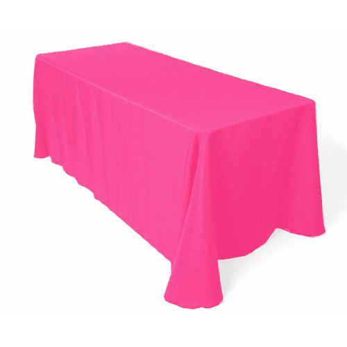 """Rectangular Tablecloth Line Restaurant 90""""X156"""" (Hot Pink) By Florida Tablecloth front-569305"""