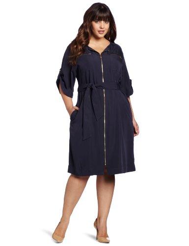 Jones New York Women's Plus-Size Short Sleeve Dress With Hardware