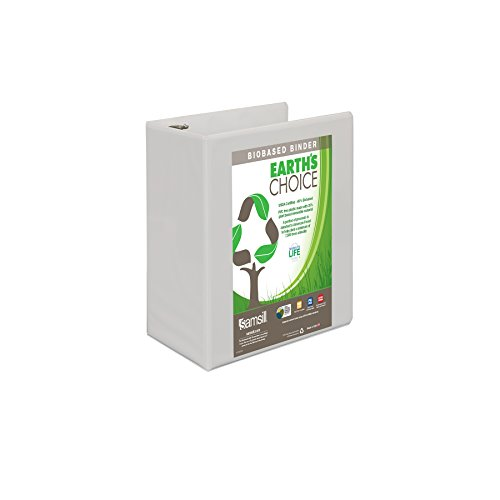 "Earth`s Choice Biodegradable Angle-D Ring View Binder, 5"", White"