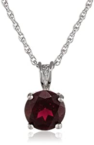Sterling Silver 8mm Round Garnet Pendant Necklace with Light Rope Chain Necklace, 18""