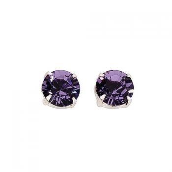 Sterling silver unisex studs earrings set with swarovski crystal - amethist purple - TribalSensationTM