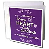 InspirationzStore Inspirational Quotes - Irish blessing rhyme for wealth abundance happiness and good luck - rhyming poem typography - Purple - Greeting Cards-12 Greeting Cards with envelopes
