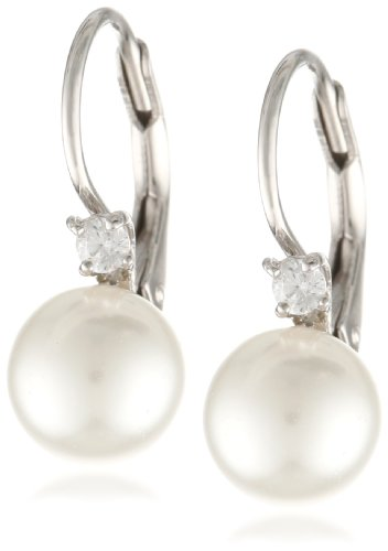 Sterling Silver White Shell Pearl and Cubic Zirconia