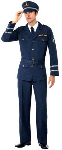 erdbeerloft-Herren-Piloten-Uniform-Kostm-Hose-Jacke-Oberteil-Hut-dunkelblau-marine-M