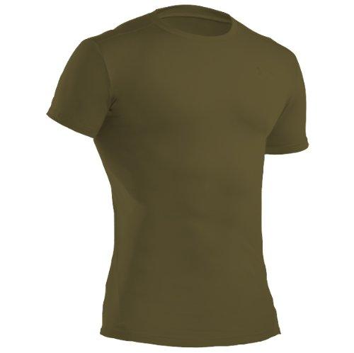 Under Armour Heatgear Crew - Maglietta intima tecnica da uomo, verde (olive), Medium