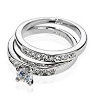 M&S Collection Platinum Plated Diamanté Duo Wedding Rings