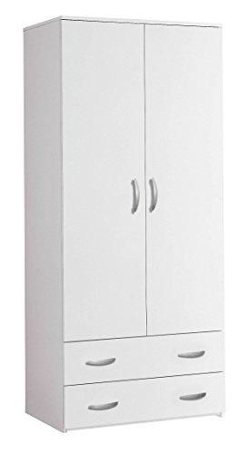 Mobile contenitore armadio 2 Ante 2 Cassetti cm L81 H175 - Bianco