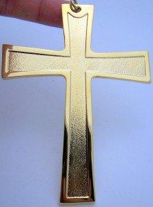 4 1 2 Inch Pectoral Bishops Cross Crucifix Gold Tone Chain