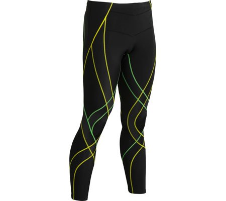 Mens CW-X Endurance Generator Tights, Black/Green/Open Yellow, XL