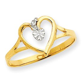 14K Yellow Gold & Rhodium Cut Out Heart Promise Ring (6.5)