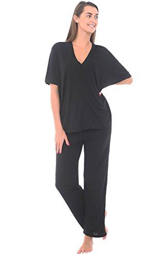 Del Rossa Women's Modal Knit Pajamas, Long Loose V-Neck Pj Set, Medium Black (A0412BLKMD)