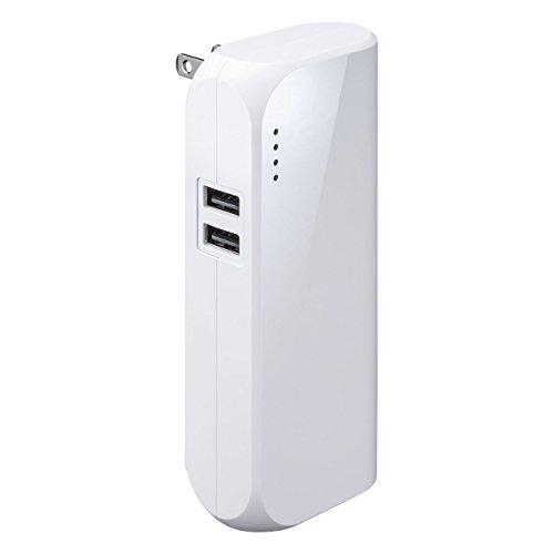 ACプラグ内蔵で充電しながら給電できる容量5,200mAhのモバイルバッテリー(700-BTL034)