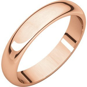 14kt Rose 4mm Half Round Wedding Band
